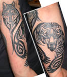 Tribal Bear And Wolf