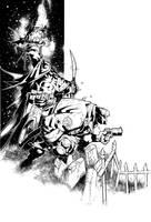 Batman Hellboy pin-up