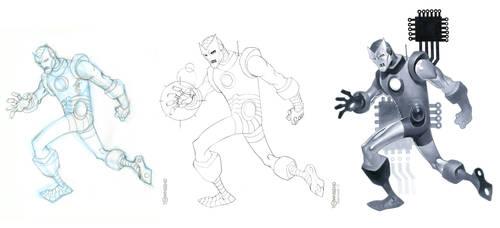 Retro Iron Man process shot by TimTownsend