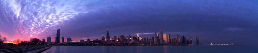 chicago sunset panorama hw by Dahhknehhs