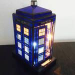 stained glass TARDIS lamp doors
