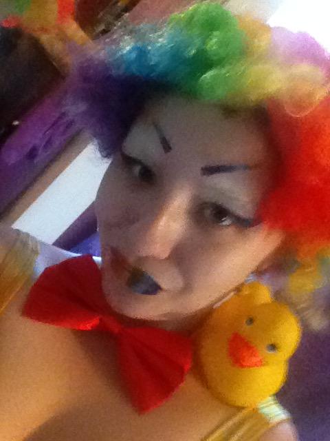 Weird al rainbow make up duckie ear-rings by starcatfri