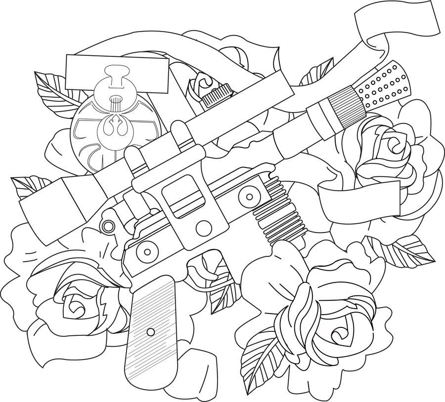 Han Solo's Blaster Tattoo Desi by whitelightning88