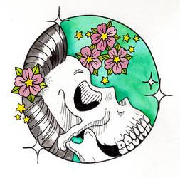 Cute geisha skull