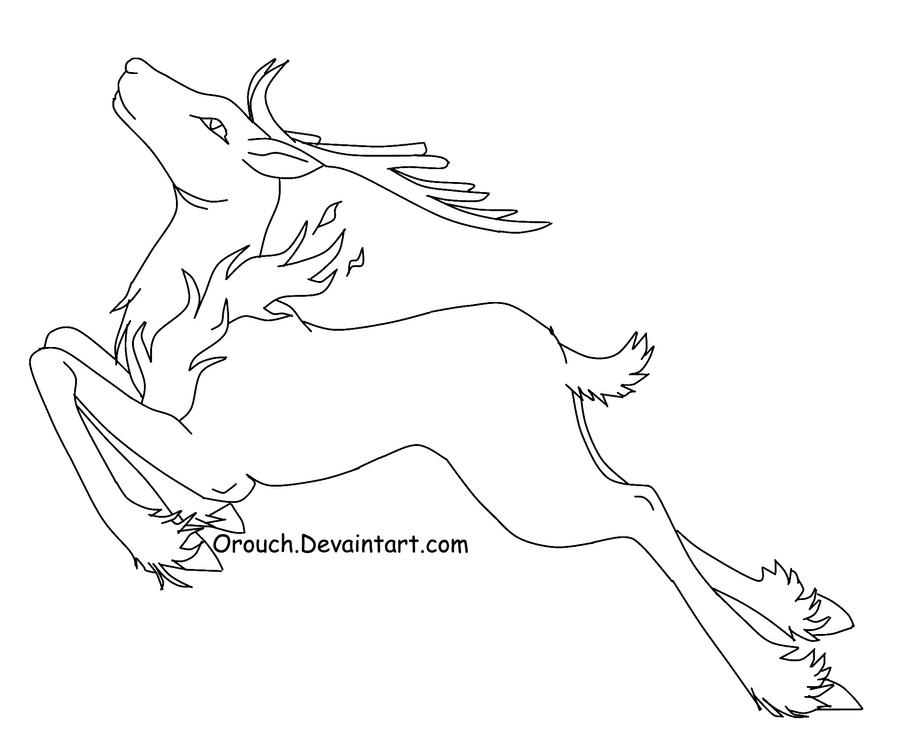Line Drawings Of Animals Deer : Free fire deer line art by orouch on deviantart