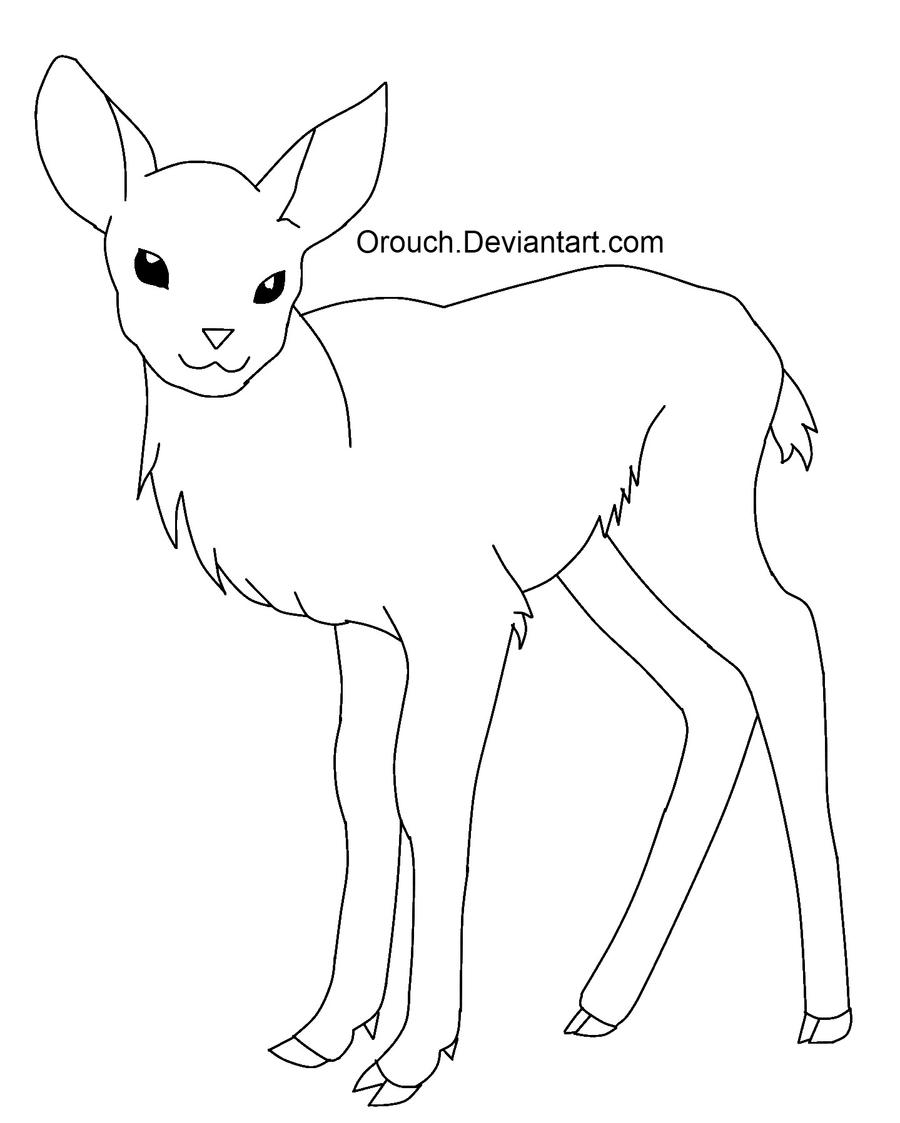Line Drawings Of Animals Deer : Free baby deer line art by orouch on deviantart