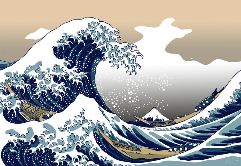 The Great Wave off Kanagawa WP by painfullyxuncool