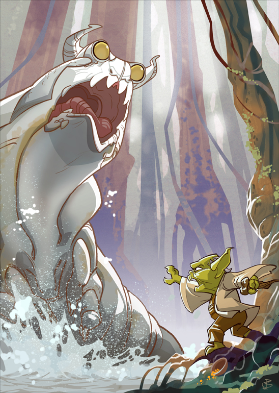 Yoda vs. Swamp Slug by PatrickSchoenmaker
