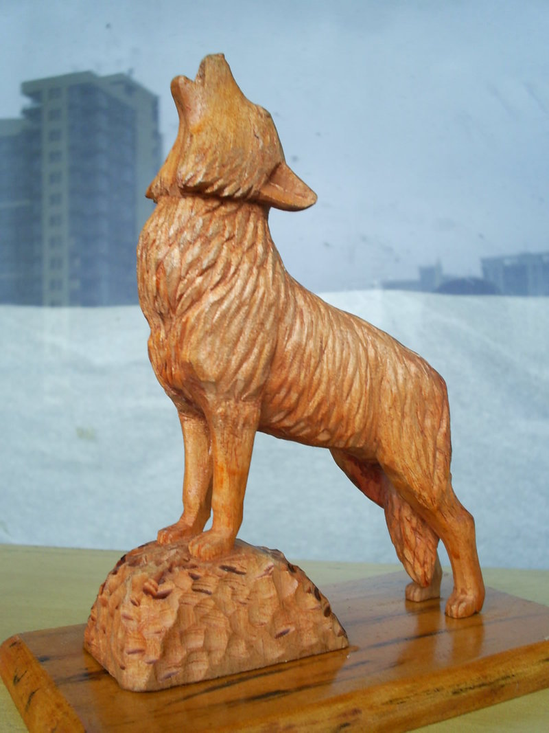 Wolf woodcarving by animal love on deviantart
