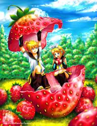 Kagamine Strawberry Nomnom by rae-shi