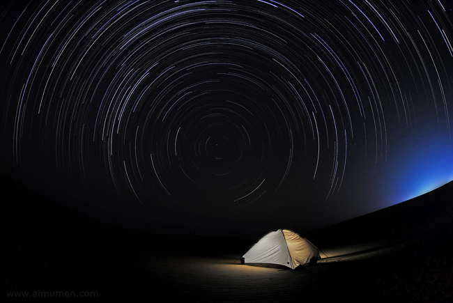 Okair Star Trails with light painted tent