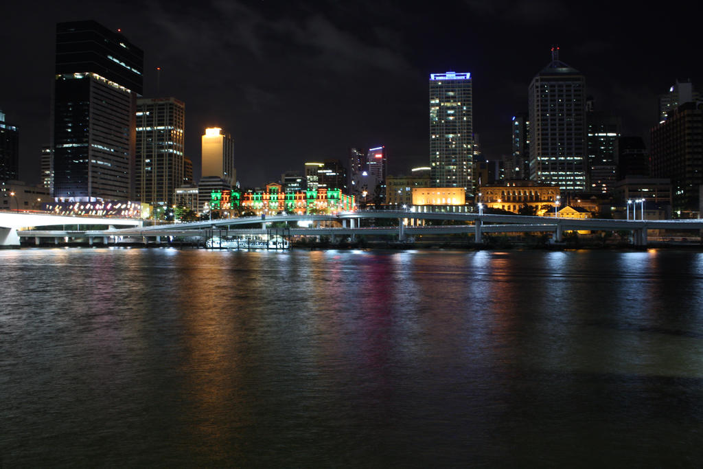 Brisbane city by night 3884 by fa-stock