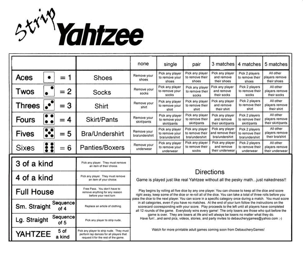 Strip Yahtzee SCOREcard by Debaucherygames on DeviantArt