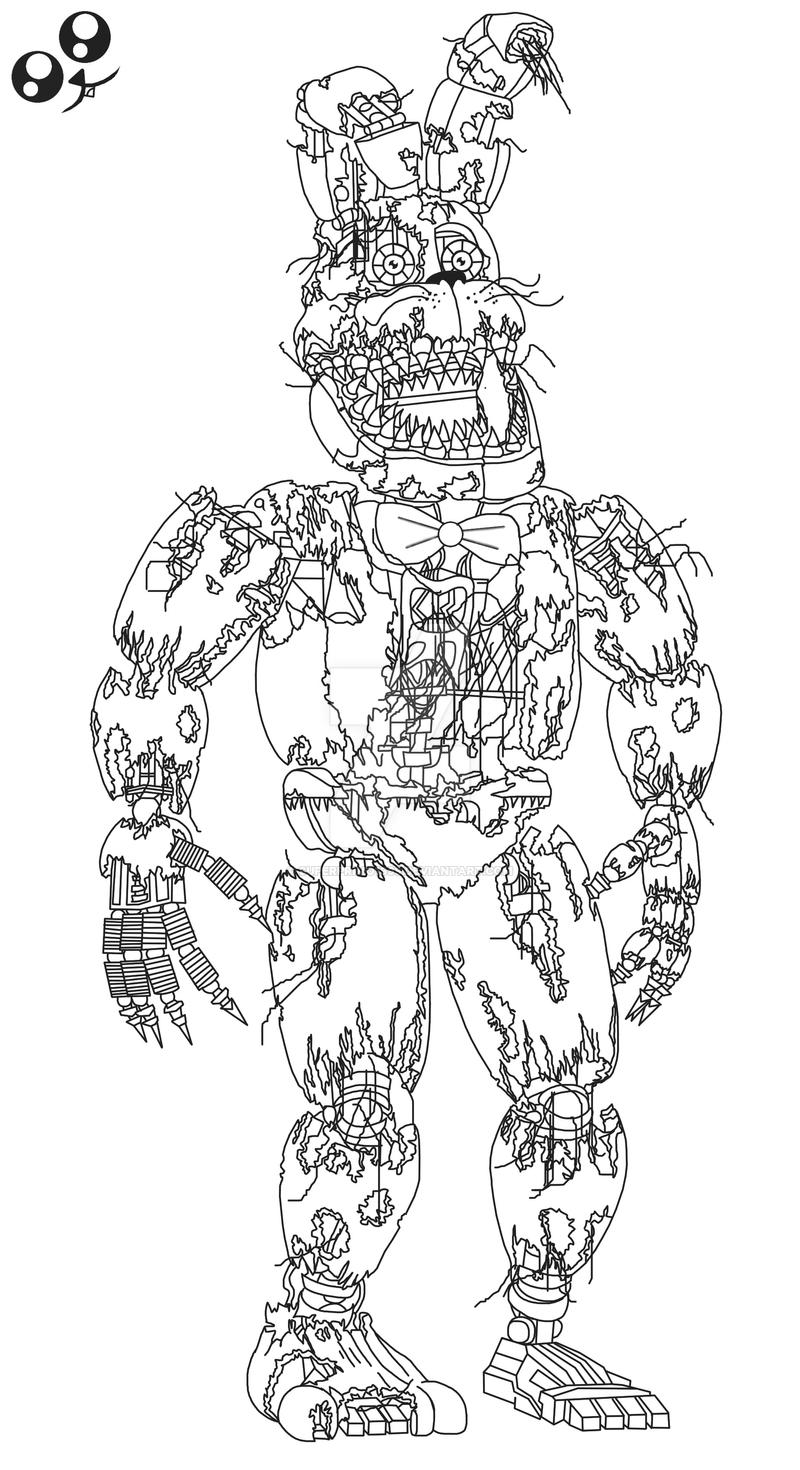 Bonnie Coloring Pages Withered Sketch Coloring Page