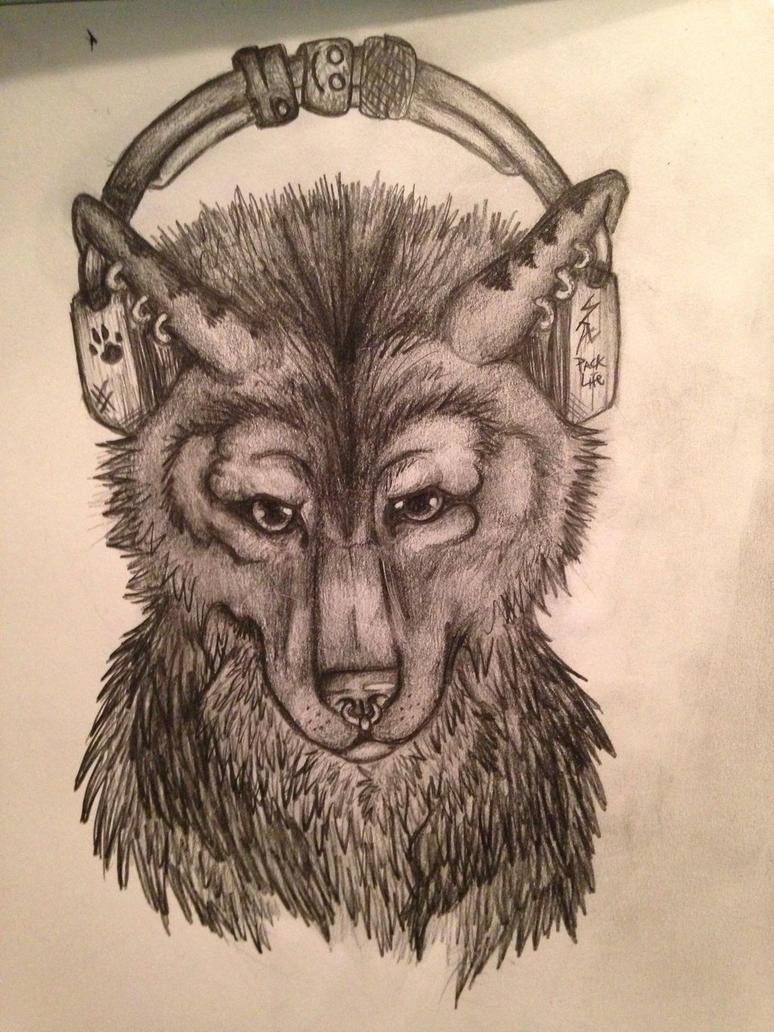 Wolf with headphones by Babybee-Babybreeze