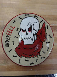 Underfell Papyrus Plate by InvaderSasha