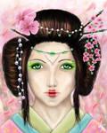 Geisha and cherry blossoms