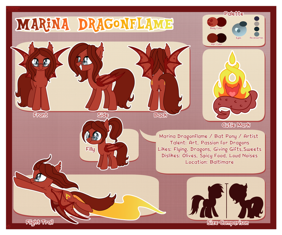 [Prize] Marina Dragonflame Reference Sheet by Kazziepones