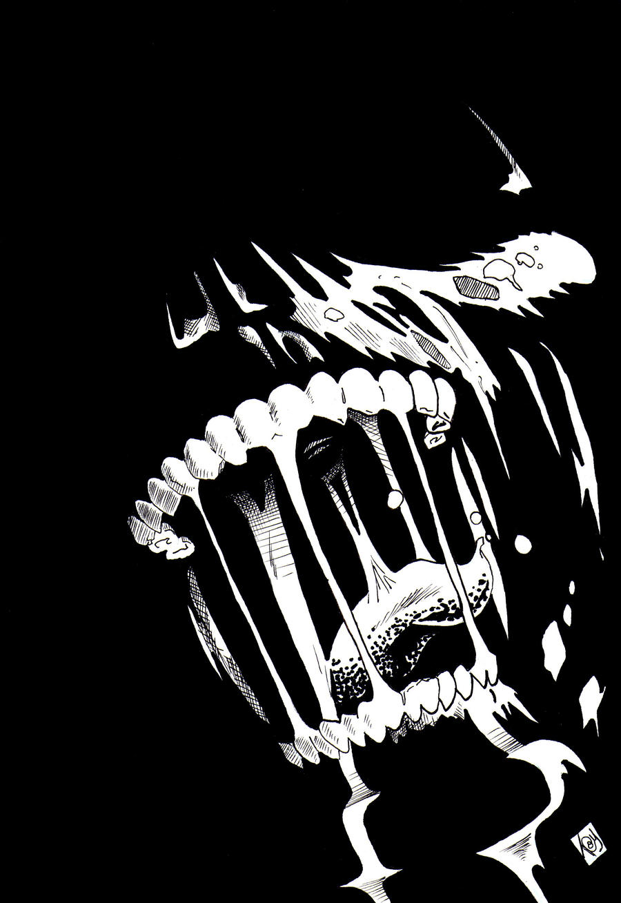 Zombie Mouth Black and White