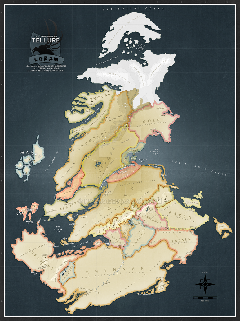 The Continent of Tellure, Political Boundaries by nvexio