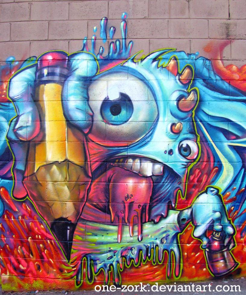 melted boi graffiti character by thezork