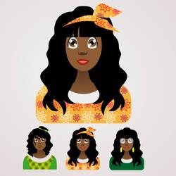 Afro style faces design illustration 1 by CamerDesigner