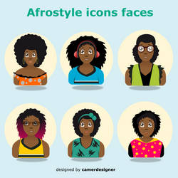 Afrostyle woman icon faces 2 by CamerDesigner