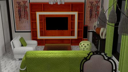Home interior design living room green
