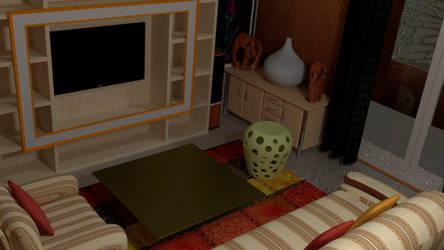 Home interior design living room borwn