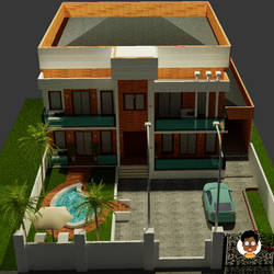 House 3D rendering on Blender