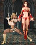 Blonde Sable and Crimson Enchantress