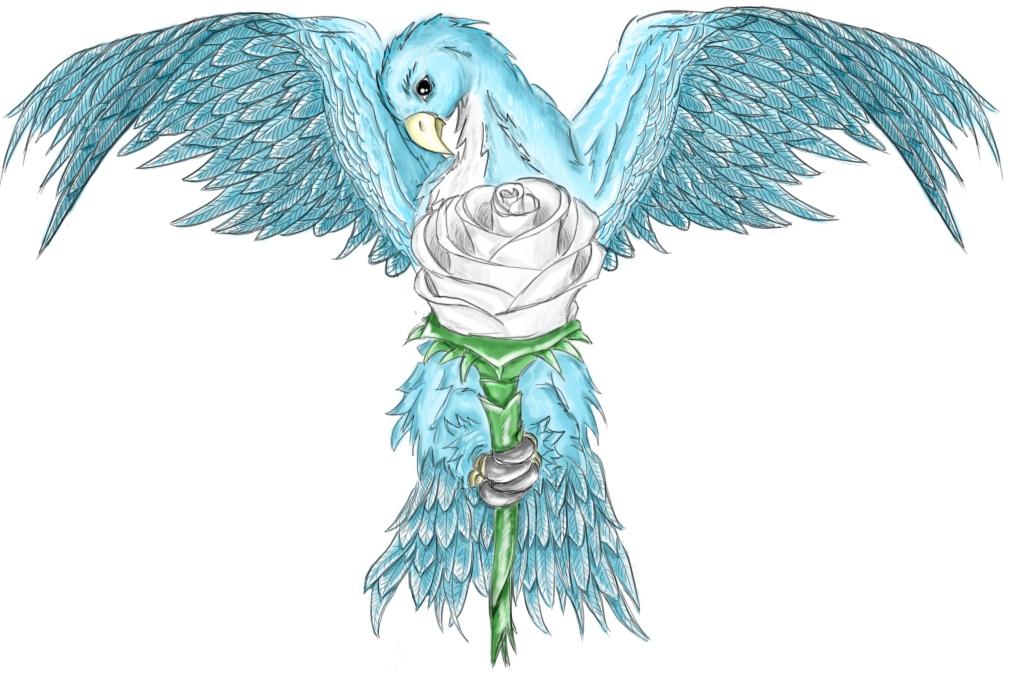 bird and rose tattoo design by jamesdraxon on deviantart. Black Bedroom Furniture Sets. Home Design Ideas