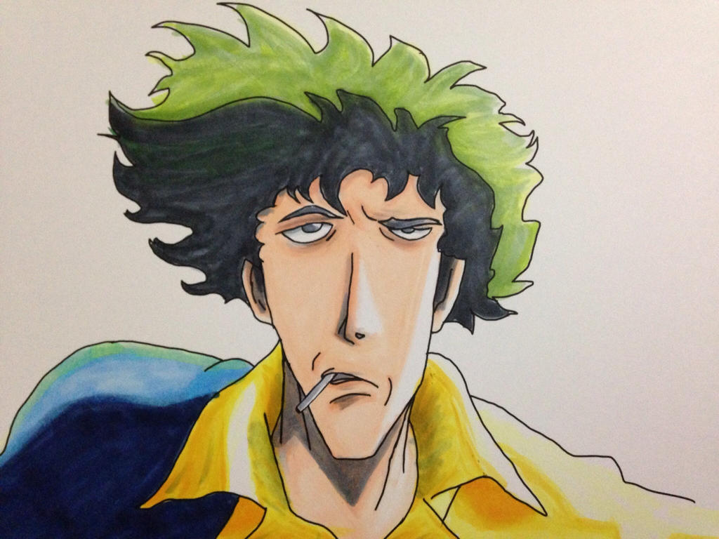 Cowboy Bebop Spike Copic Coloring By Flatsncolors On