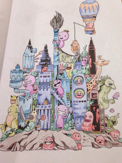 From Adult Coloring Book Doodle Invasion By Sandrasalazar On Deviantart Flower
