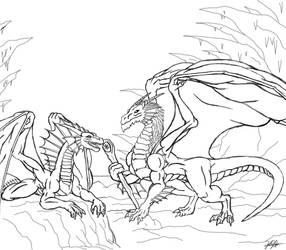 Dragon 2nd Lineart by TargonRedDragon