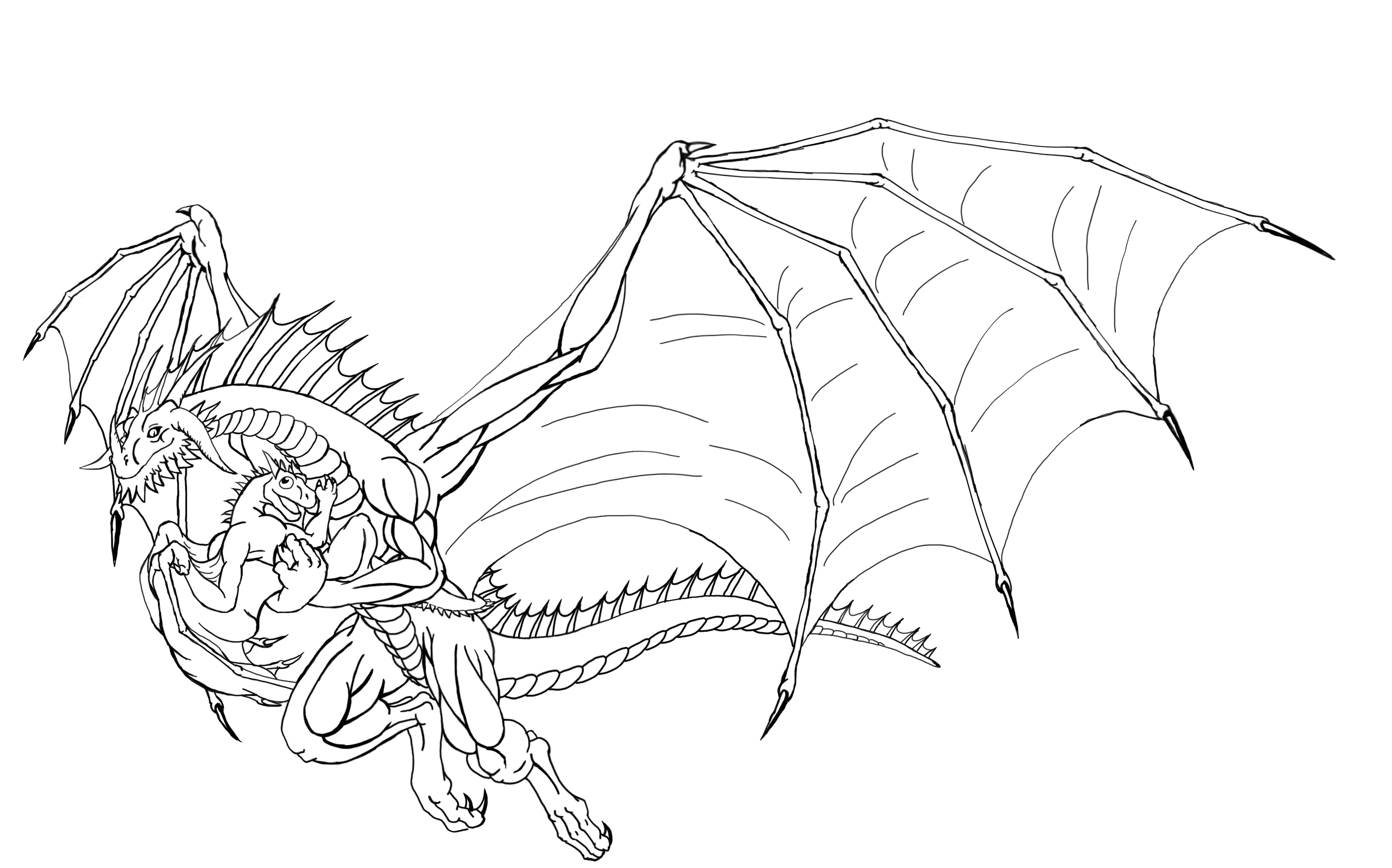 Line Art Dragon : Two dragons lineart by targonreddragon on deviantart