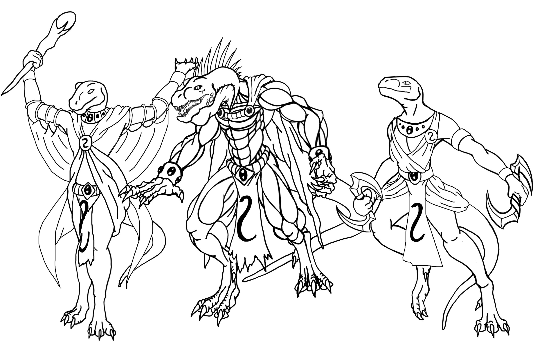 Noble Lizards Lineart By TargonRedDragon On DeviantArt