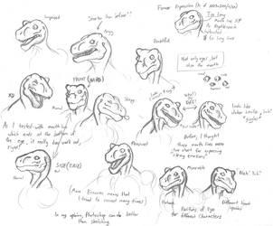 Sketch of Lizard Expressions by TargonRedDragon