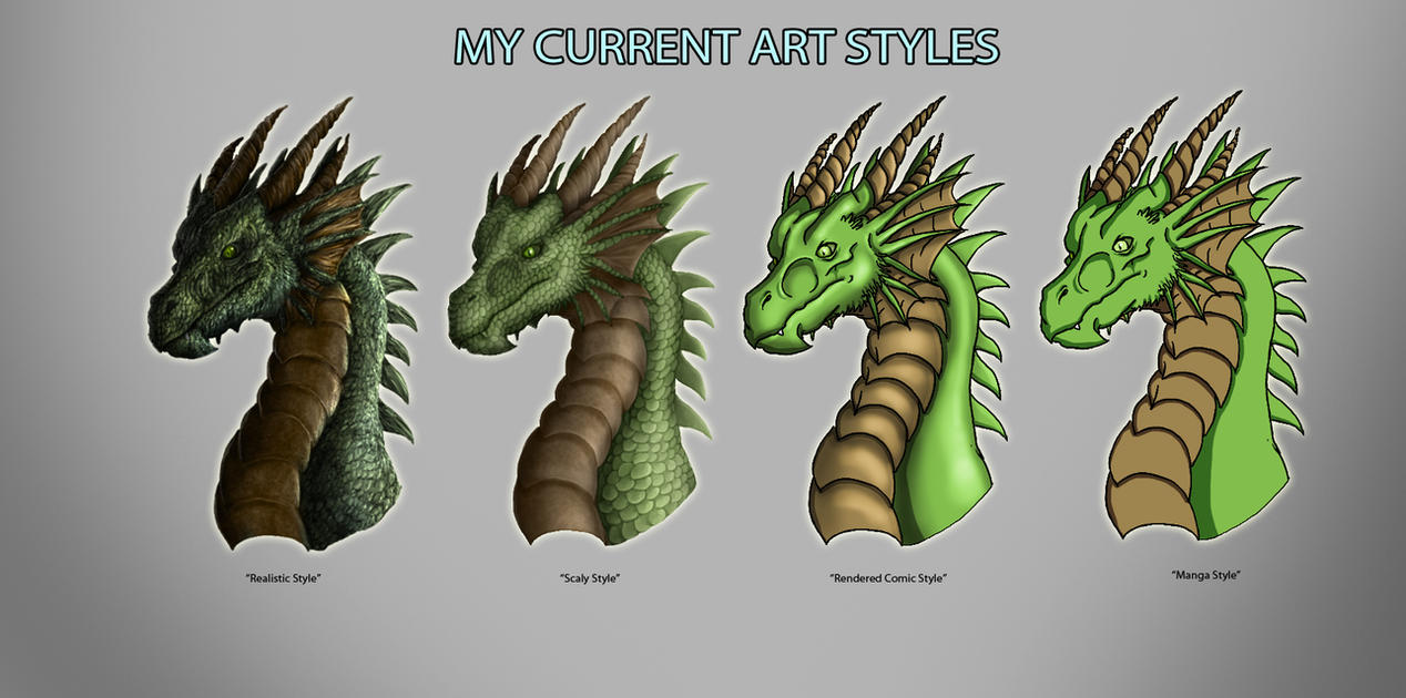 My current art styles by targonreddragon on deviantart for Types of painting techniques