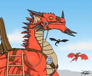 Offering a Dragon Ride by TargonRedDragon