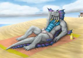 Commission: Blissful Sunbath by TargonRedDragon