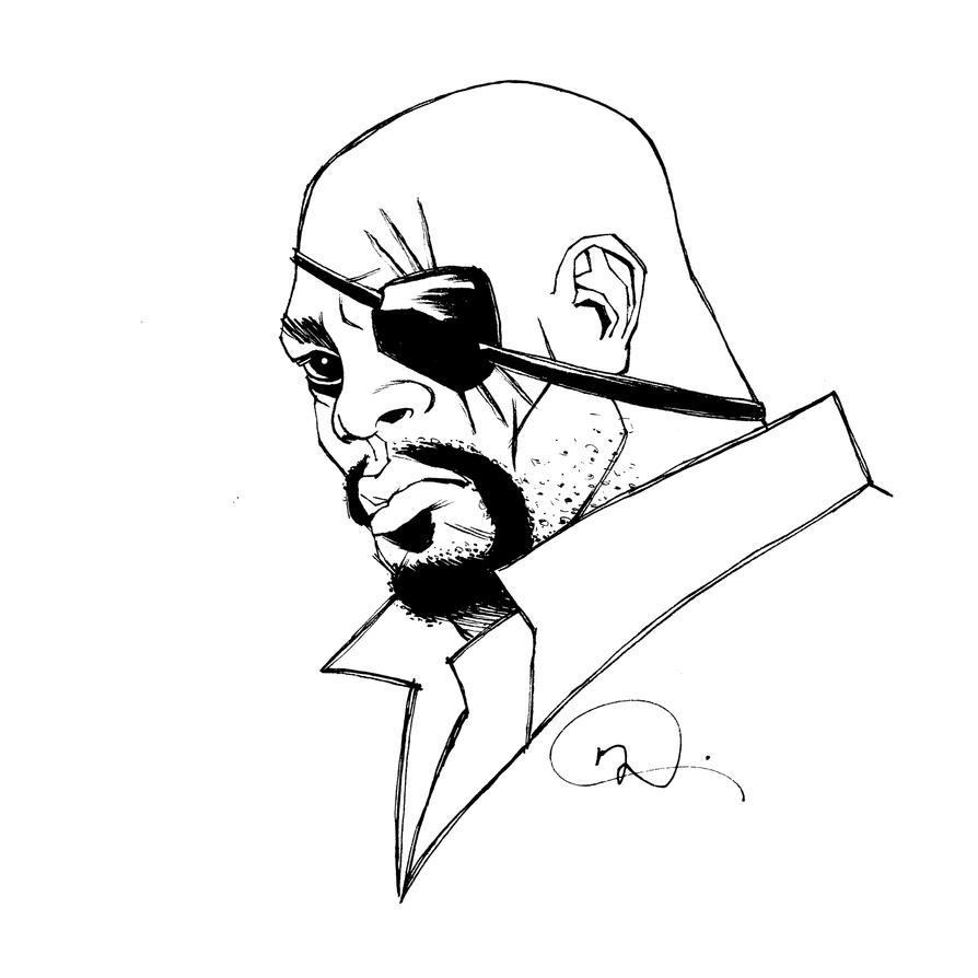 Inktober Nick Fury by mmacklin