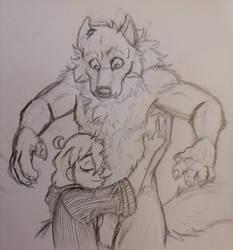 EthanNadja - Werewolf Ethan gets a glomp