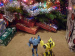 Bee shows Blurr the Xmas tree