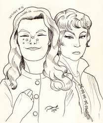 #Inktober 16 - Samantha Stephens and Endora by soletine