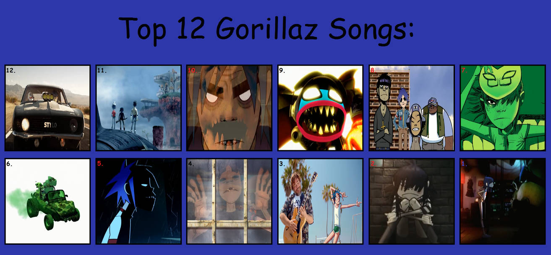 Top 12 Gorillaz Songs by manticoreGreltin125 on DeviantArt