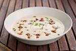 Chanterelle soup with salsa verde