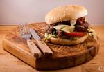 Sloppy veggieburgers with bacon