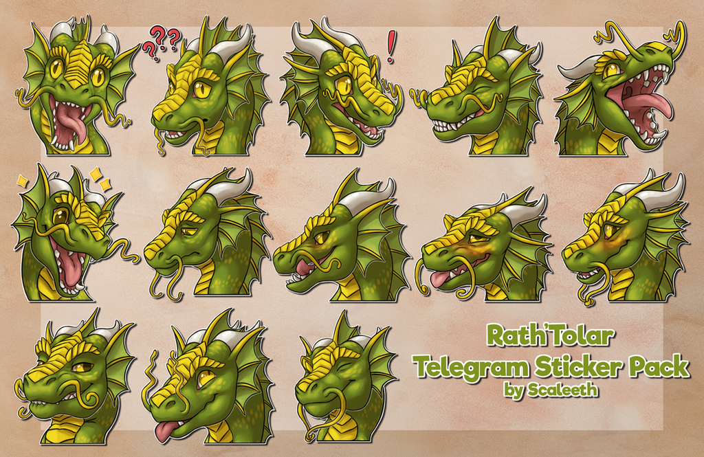 [Commission] Telegram Stickers - Rath'Tolar by Scaleeth