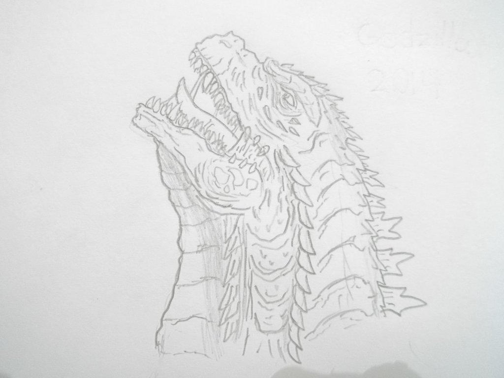 Godzilla 2014 pencil sketch by gmkmothafukas by